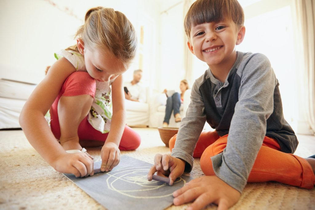 Children drawing and coloring